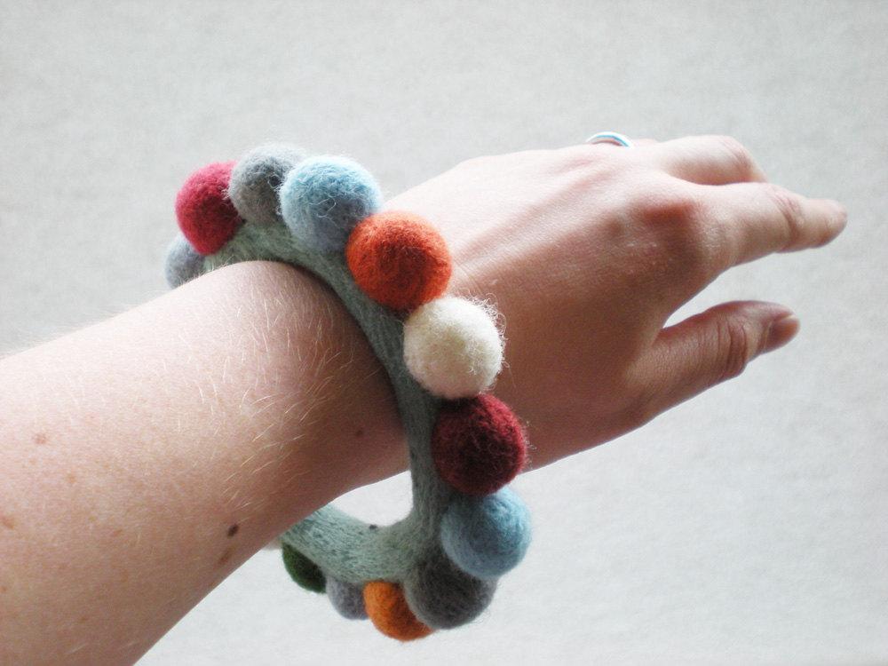 Felt Ball Bracelet - Multicoloured Needle Felted Bangle