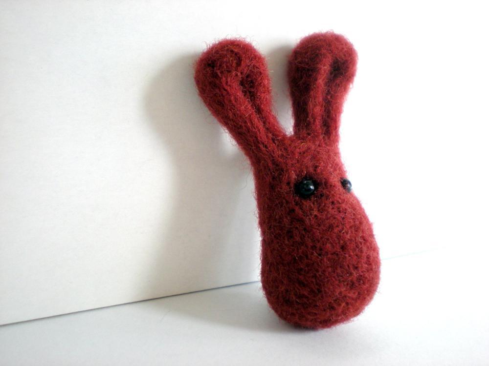 Felt Bunny Brooch - Maroon Needle Felted Pin