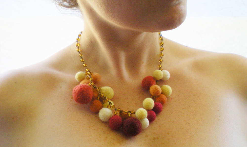 Autumn Felt Necklace - Orange, Red & Amber Needle Felted Balls