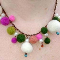 Pink and Green Felt Ball Necklace