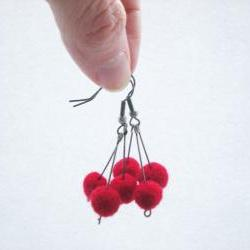 Red Berry Earrings - Needle Felted Red Ball Earrings