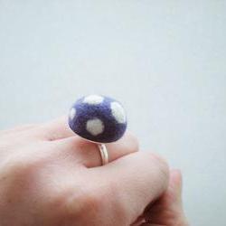 Felt Mushroom Ring - Needle Felted Purple and White Spot Ring