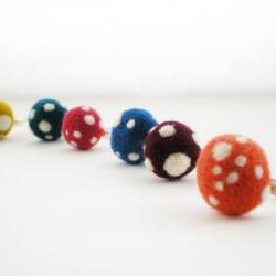 Polka Dot Rings - Felt Mushroom Ring, Any Colour