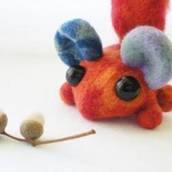 Orange Woodland Critter - Needle Felted