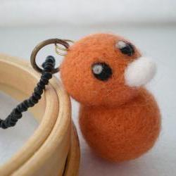 Orange Duck Necklace - Needle Felted