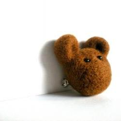 Brown Bear Brooch - Needle Felted Animal Pin