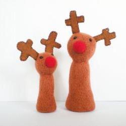 Large Plush Reindeer - Needle Felted Christmas Decoration