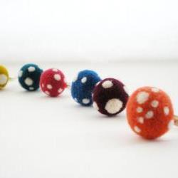 Polka Dot Rings - Felt Mushroom, Any Colour